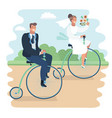 just married on bycicle vector image