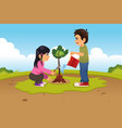 kids planting and watering a tree vector image