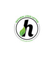 letter h with leaf logo green leaf logo icon vector image