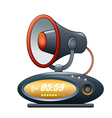 megaphone alarm clock vector image vector image