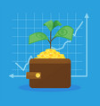 money tree in wallet and graph vector image vector image