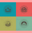 mountain emblems set four colored vector image