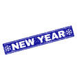 new year grunge rectangle stamp seal with vector image vector image