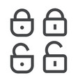 padlock or lock icon open and closed line vector image