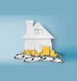 paper art of home with pile of money and real vector image