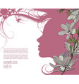 pink silhouette of beautiful woman part of profile vector image