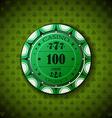 Poker chip nominal one hundred on card symbol vector image
