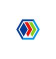 polygon colored data technology logo vector image