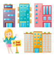 real estate agent and many building set vector image vector image