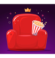 red cinema armchair with popcorn on purpl vector image vector image