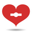 red heart with white with keyhole vector image vector image