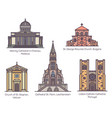set isolated european catholic churches in line vector image vector image