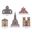 set isolated european catholic churches in line vector image