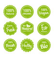 set natural organic product labels vector image