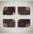 set of four rnamental gold cards with flower vector image vector image