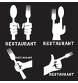 set of vintage emblems of restaurant with hands vector image vector image
