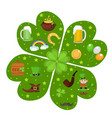 st patricks day icon set in clover-shape design vector image vector image