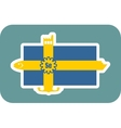 sweden national flag with icons vector image