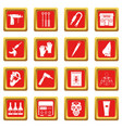 tattoo parlor icons set red vector image vector image