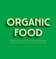trendy logo organic food green 3d alphabet