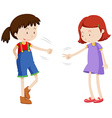 Two girls playing paper scissors rock vector image