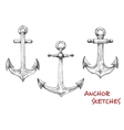 Vintage isolated admiralty anchors sketches vector image vector image