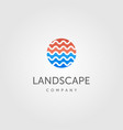 water wave symbol for river landscape logo label vector image vector image