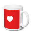 white and red mug love realistic 3d mockup on a vector image vector image