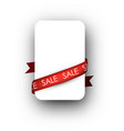 White sale background with ribbon vector image