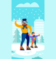 winter skating in city park family day stories vector image