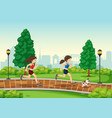 woman running at the park vector image vector image