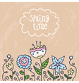 Card background with doodle flowers vector image