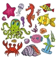 Cartoon Funny Fish Sea Life Colored Doodle set vector image