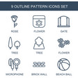 9 pattern icons vector image vector image