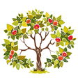 abstract apple tree isolated on white background vector image vector image