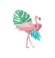 beautiful pink flamingo with palm tree and vector image vector image