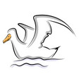 bird in water on white background vector image vector image