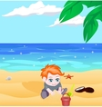 boy on a beach vector image vector image
