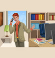 businessman talking on the phone vector image vector image