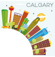 calgary skyline with color buildings blue sky and vector image vector image