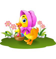 cartoon baby duck carrying decorated egg vector image vector image