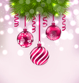 Christmas fir branches and glass balls copy space vector image vector image