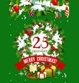 christmas tree wreath greeting card of xmas design vector image vector image
