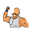 circus strong man mustache muscle vector image