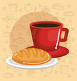coffee and bread design vector image vector image