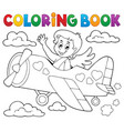 coloring book cupid topic 5 vector image