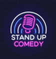 comedy show neon sign retro microphone line vector image vector image