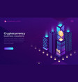 cryptocurrency business solution isometric landing vector image vector image