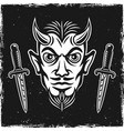 devil head and two ritual knives on dark backdrop vector image vector image