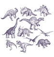 Dinosaurs drawings set vector image vector image